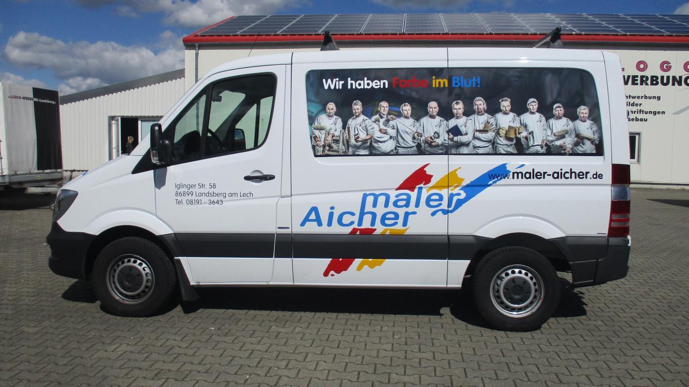 KFZ-Beschriftung Maler Aicher, Logo Werbung Landsberg