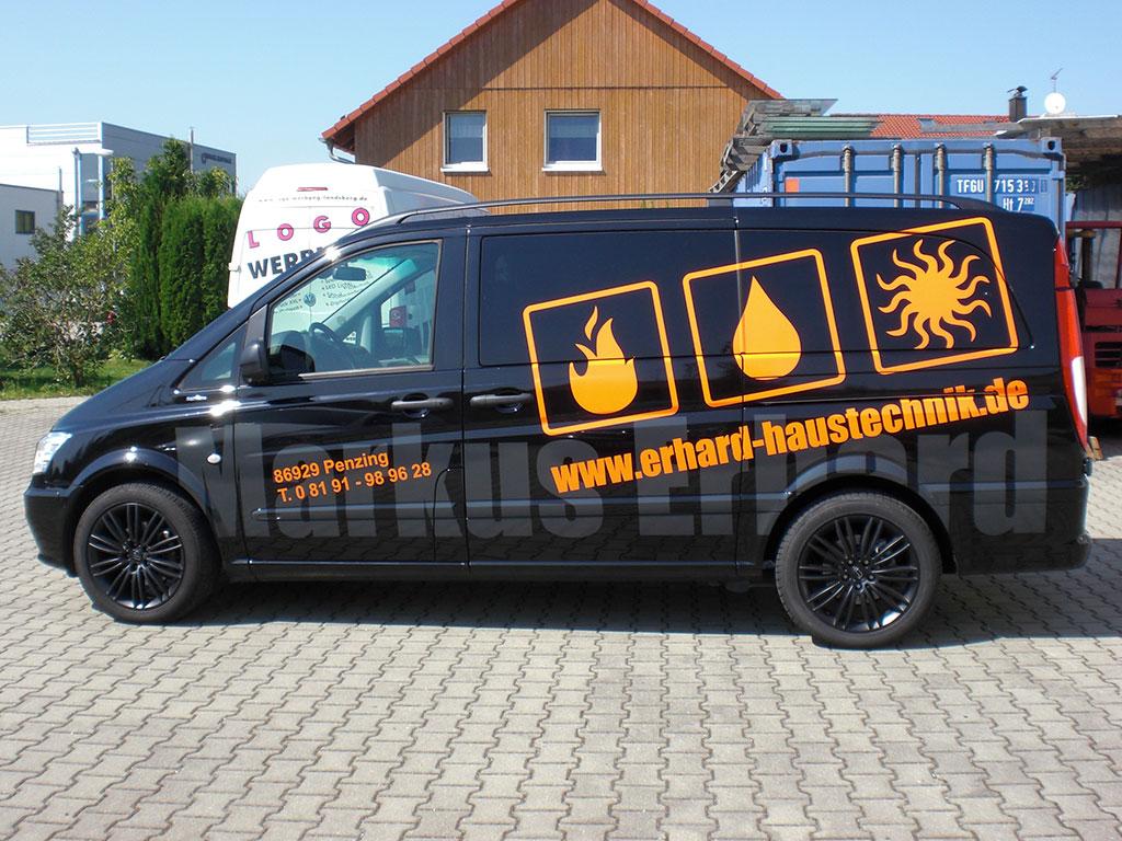 KFZ-Beschriftung Erhard-Sanitär, Penzing - Logo Werbung Landsberg