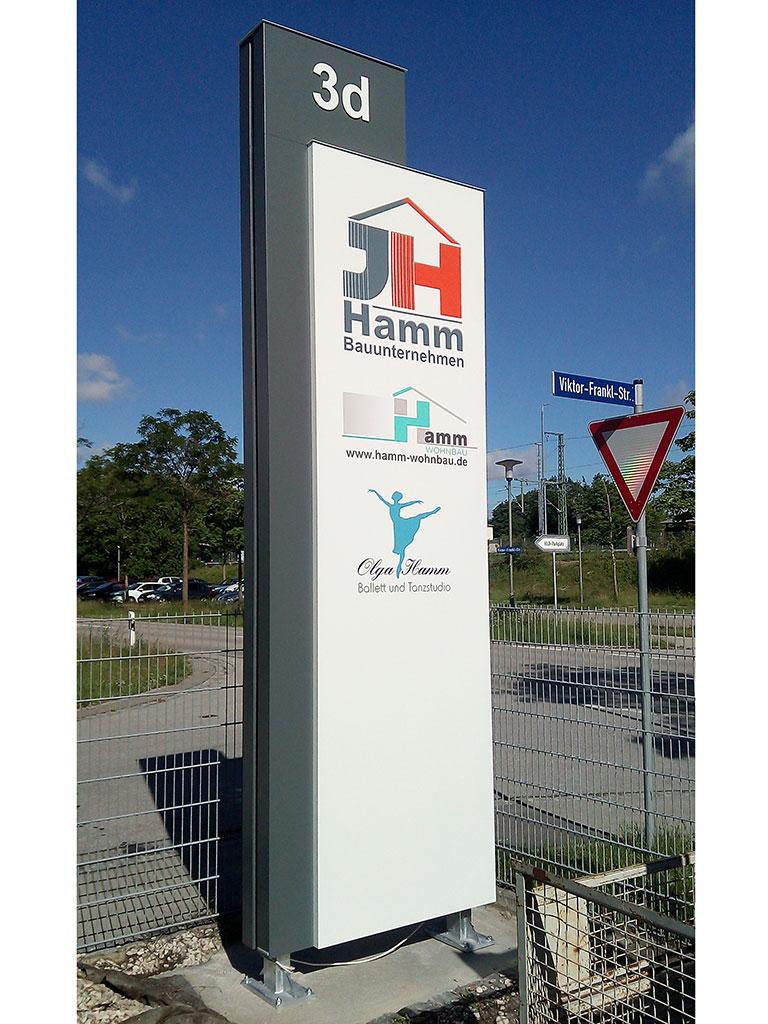 Pylon - Hamm Bauunternehmen, Kaufering - Logo-Werbung-Landsberg_Hamm-Bau-Kaufering